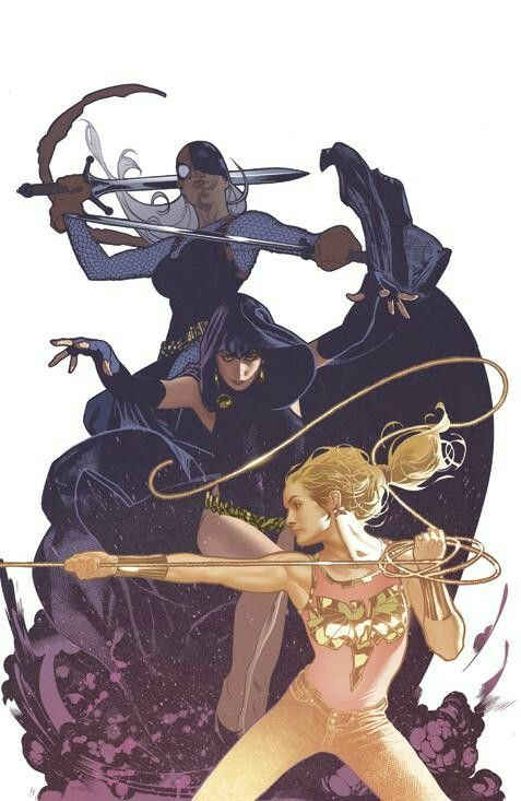 Teen Titans Wonder Girl Cassie Sandsmark, Raven, and Ravager art by the amazing Adam Hughes
