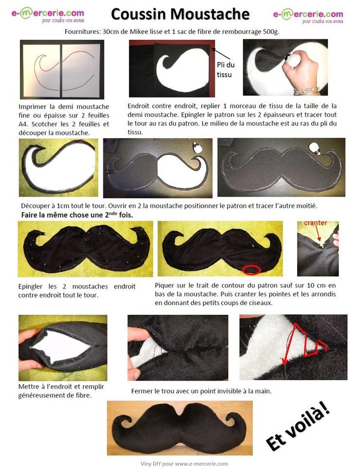 coussin moustache Tuto patrons gratuit