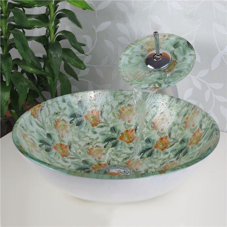 彩色上絵洗面ボウル&蛇口セット 洗面台 洗面器 手洗器 手洗い鉢 排水金具付 HT0341
