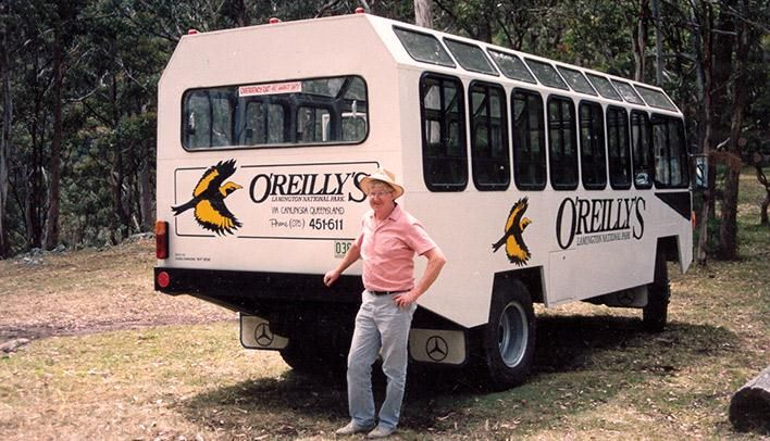 Vince O'Reilly with historic mountain transfer bus in the Gold Coast Hinterland. #oreillysrainforestretreat #lamingtonnationalpark #goldcoast