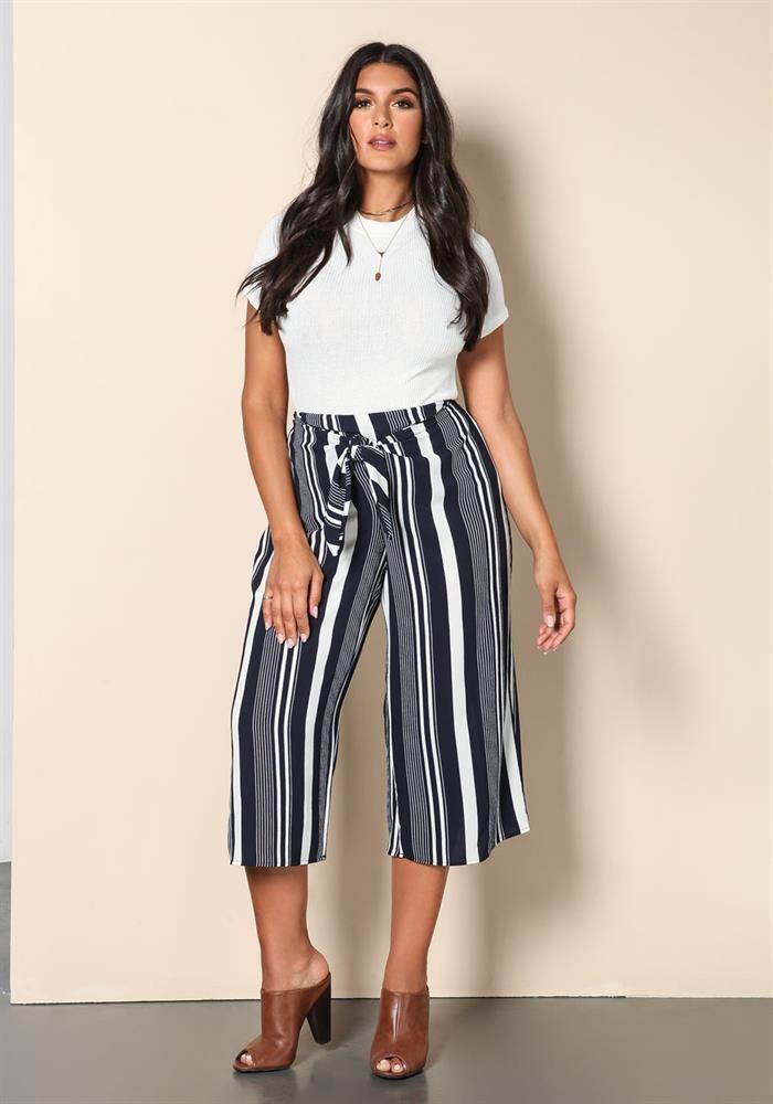 Plus Size   Plus Size High Rise Stripe Culottes   Debshops.com