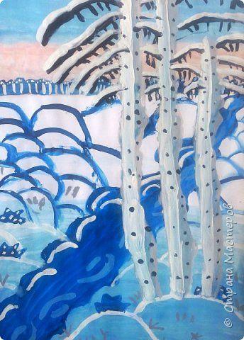 Зимний пейзаж по МК Ольги Уралочки http://stranamasterov.ru/node/1062681?c=favorite Работы детей 4 класса. фото 11