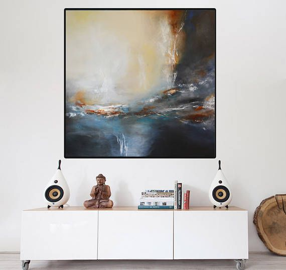 Large Contemporary gray beige Painting on Canvas Handmade