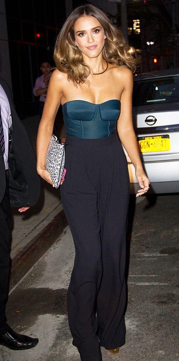 jessica alba pants bodysuit jumpsuit black bustier top chic celebrity style