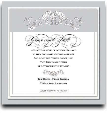 165 Square Wedding Invitations - Vizcaya White Dove by WeddingPaperMasters.com. $432.30. Now you can have it all! We have created, at incredible prices & outstanding quality, more than 300 gorgeous collections consisting of over 6000 beautiful pieces that are perfectly coordinated together to capture your vision without compromise. No more mixing and matching or having to compromise your look. We can provide you with one piece or an entire collection in a one stop sho...