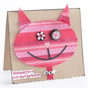 Cat Birthday Card -- good craft for moms and kids to do together.