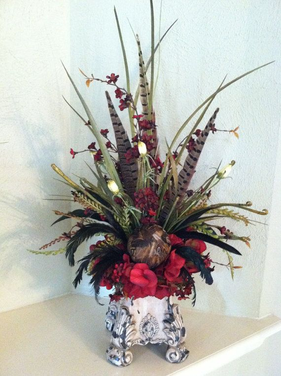 Faux floral arrangement red hydrangea feather silk