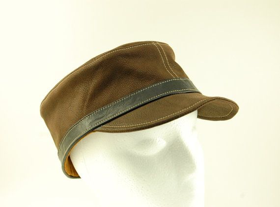 Brown Leather Cap, Cadet Cap, Kepi, Military Cap, Distressed Goat Leather with Black Lambskin Band, Lined for Men and Women