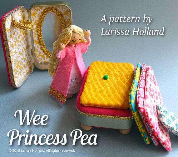 Wee Princess Pea PDF pattern, a purse-sized fairy tale playset