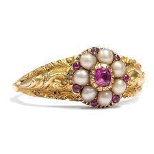 Victorian: Blüten Ring mit Perlen & Rubin in Gold, Verlobungsring, Perle um 1845