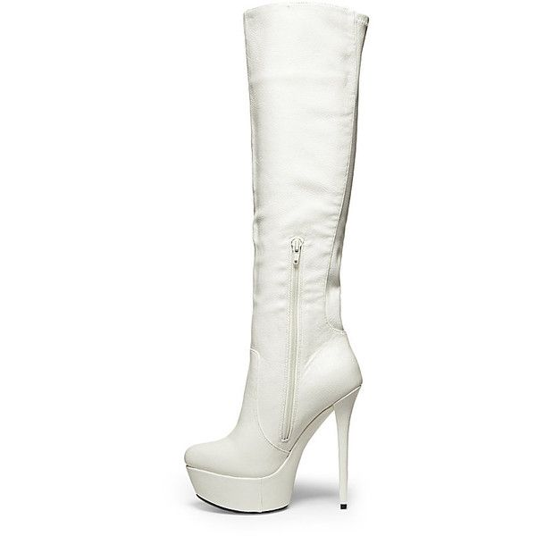 Steve Madden Women's Animall Boots (53 CAD) ❤ liked on Polyvore featuring shoes, boots, white, botas, sapatos, knee-high boots, sexy high heel boots, sexy knee high boots, knee high platform boots and platform boots