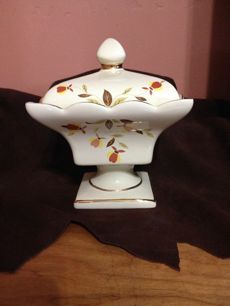 REDUCED! WOW!!!  China Specialties Autumn Leaf Jewel Tea Covered Compote Candy Dish