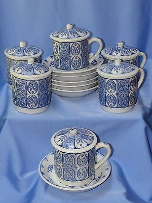 Idg Pottery Set Of 6 China Tea Or Coffee Cups With Lids