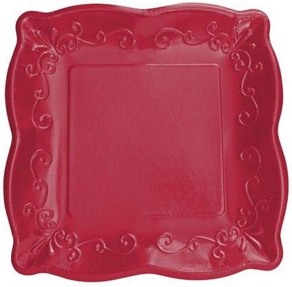 Pottery Scalloped Embossed Paper Plates Garnet Red Paper Tableware Red Paper Plates \u0026 Napkins Elegant Red Paper Plates and Napkins Square Red Paper ... & 16 best PRETTY PAPER DINNERWARE images on Pinterest   Paper plates ...