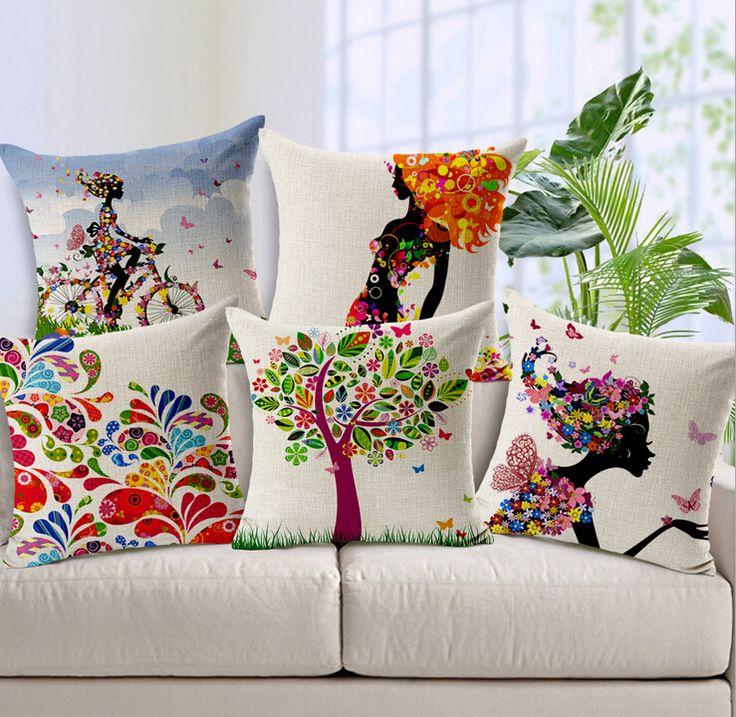 Красочные подушки крышки, красочные Девушки цветы хлопок белье бросить подушку крышка/посуда Оптом