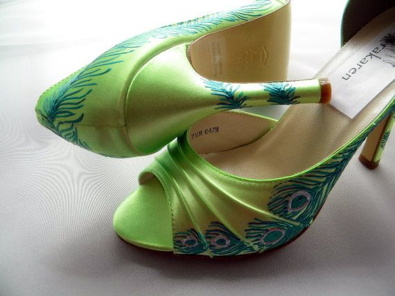 Wedding Shoes peacock feather painted lime green by norakaren