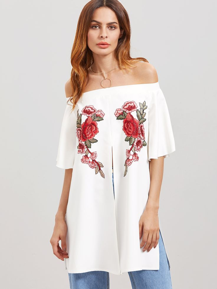 Shop White Off The Shoulder Embroidered Flower Applique Split Front Top online. SheIn offers White Off The Shoulder Embroidered Flower Applique Split Front Top & more to fit your fashionable needs.