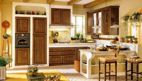 Mixing Bright Yellow Kitchen with Natural Color of Oak Cabinet