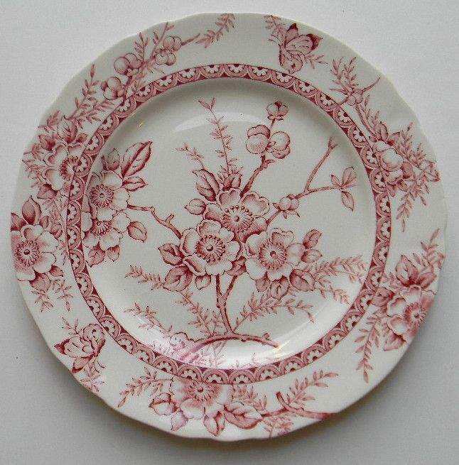 Vintage English Transferware Red Plate Butterfly Flowers Berries Cottage Decor