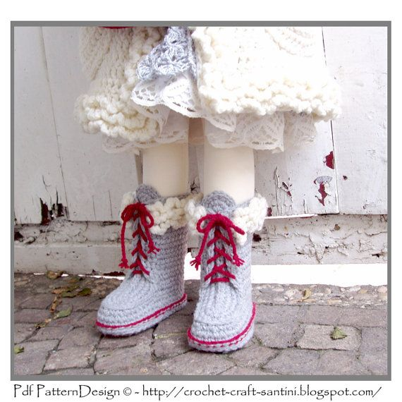 Kids Winter Boot-Slippers with Fur and Laces Crochet Pattern