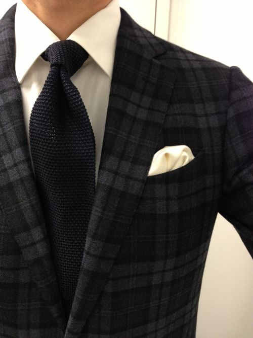 Glen plaid sports jacket, Tom Ford knit tie, white dress shirt -