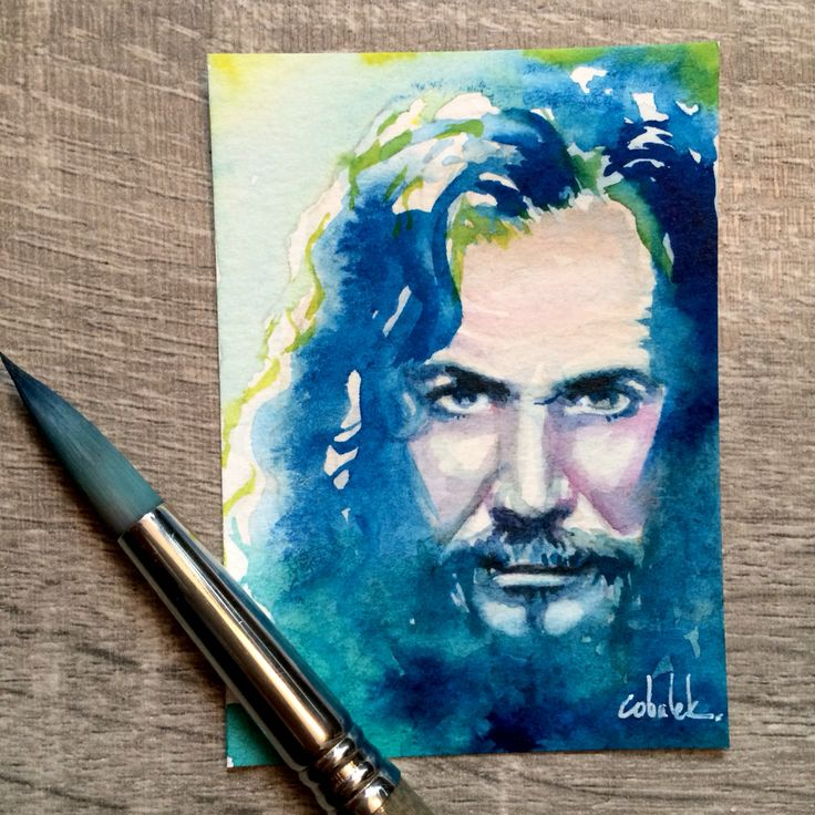 Sirius Black - Tiny Harry Potter watercolour portrait 2.5 x 3.5 inches  by Christy Obalek