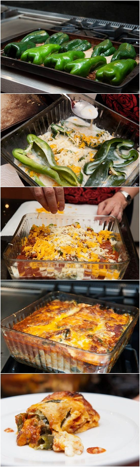 Easy Chiles Rellenos - Great vegetarian dish; looks way too easy not to give it a try! [ MexicanConnexionforTile.com ] #food #Talavera #Mexican