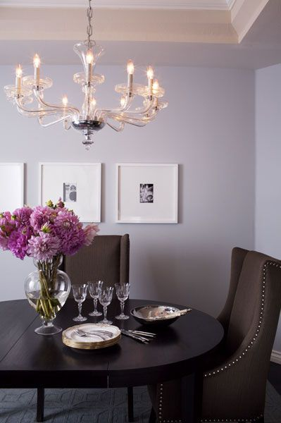 dining rooms - lilac walls tray ceiling black white art white gallery frames espresso dining table chocolate brown dining table silver nailhead trim