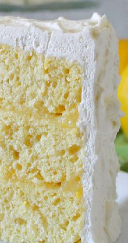 Lemon Chiffon Cake ~  This is a recipe out of a very old cookbook...  The cake is light and airy – with a not-too-sweet whipped cream frosting and filled with creamy delicious Lemon Curd.