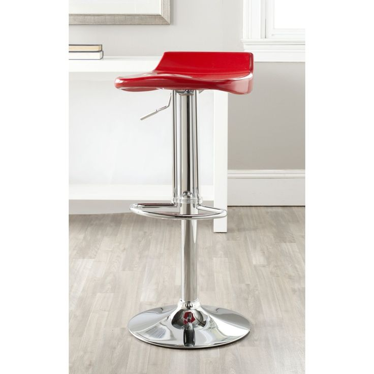 Safavieh Avish Red Adjustable 24-32-inch Bar Stool (FOX7506C) (Chrome)