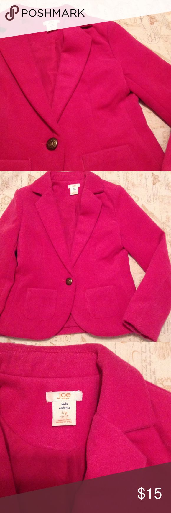 Joe Fresh Blazer - Girl Your girl will look sharp in this beautifully constructed, classic fitted blazer. Features notch collar, 1 button closure, 2 patch pockets, back vent, fully lined in pink! Excellent pre loved condition. Ages 10-12. Joe Fresh Jackets & Coats Blazers
