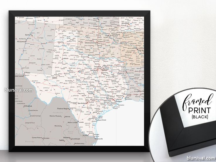 Texas map with cities and roads in neutrals, square framed print #SquareFramedPrint #black #framedposter #FramedPosterBlackFrame #SquarePoster #FramedPrintBlackFrame #square #PrintedProduct #MapOfTexas #SquarePrint