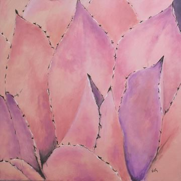 $189, Nymphaea II OL 1282, Wall Art Mauve Mist cactus leaves are highlighted with subtle blue in this 100% hand-painted textured surface canvas.
