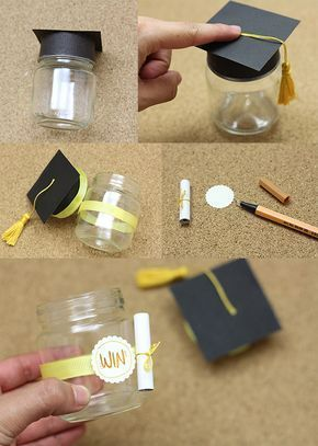 Nice gift for a graduation, glass with mortarboard and sweets