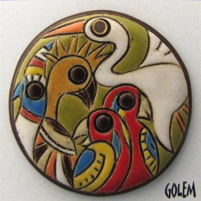 "Golem Studio Europe -- ""Birds' Parlament"" - large round pendant"