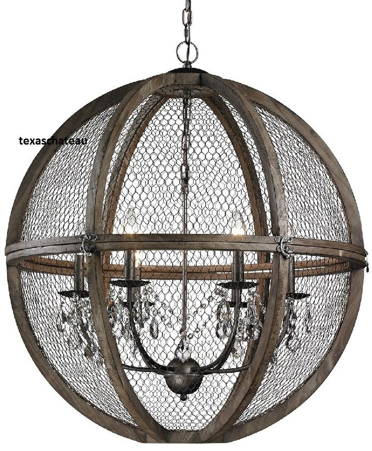 Perfect for your rich FRENCH FARMHOUSE or INDUSTRIAL CHIC style home! WOOD & CHICKEN WIRE ENCLOSE DRIPPING GLASS CRYSTAL CHANDELIER! Globe Dimensions: 30 W X 32 H. USES 6 60 WATT BULBS. NO APO OR P.O. BOXES. | eBay!