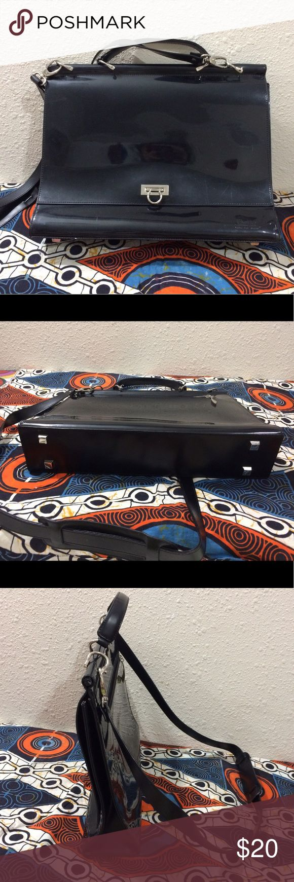 BEIJO Business Class Briefcase Messenger Bag Black Women's BEIJO Briefcase handles or long Crossbody strap ....black w/silver hardware  Good overall condition w minor scuffing on corners etc please see photos   Height 12 depth 3 inches length 16 strap 27 Beijo Bags Laptop Bags