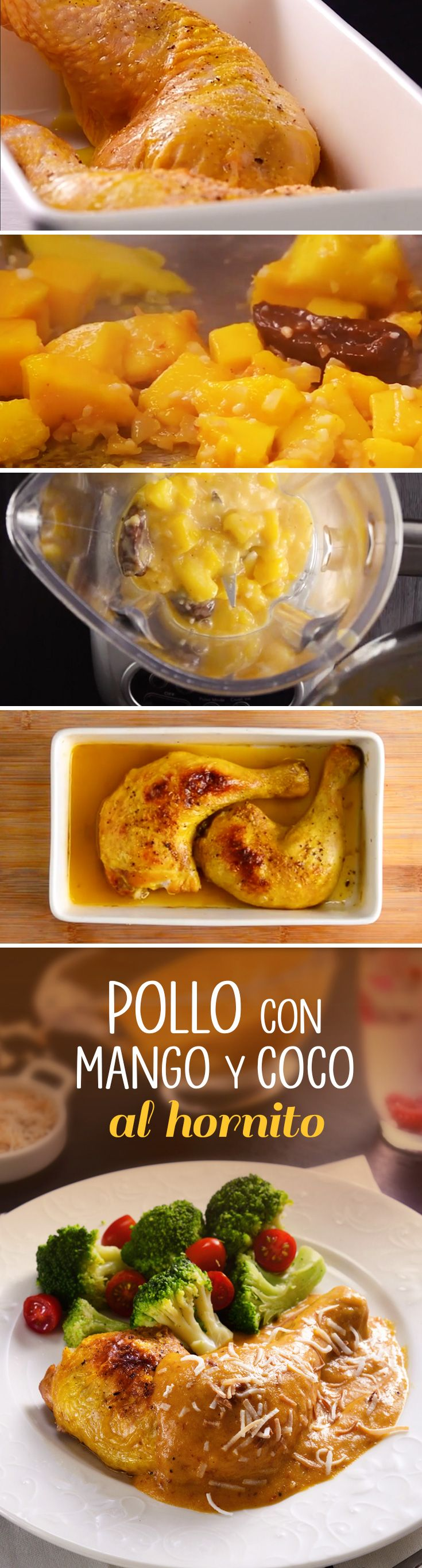 ¡Este pollo con mango y coco tiene un toque único que lo harpa el éxito de tus reuniones familiares y con amigo! Cocina este pollo en horno eléctrico y disfruta su sabor tropical.
