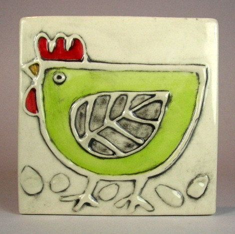 Handmade ceramic tile 4x4 green hen by ceramiquecote on Etsy, $20.00