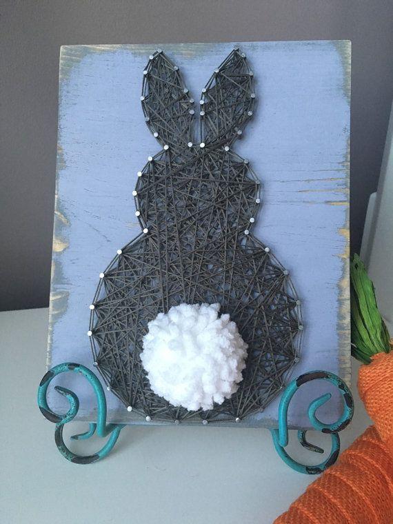 Fluffy Bunny String Art by GirlwithGlue on Etsy
