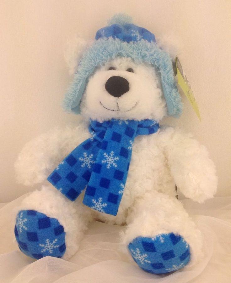 """St. Jude Childrens Hugfun Plush Kenny bear 12"""" White Blue Winter Scarf Hat  2014 #HugFun"""