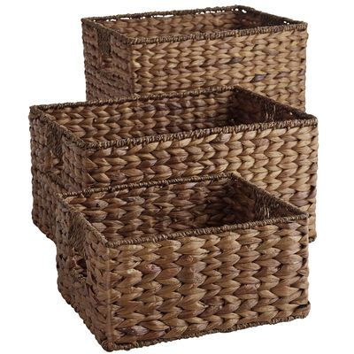 Home and office storage that isn't made of plastic? Refreshing. These storage baskets are hand-woven of natural—and naturally durable—water hyacinth over a sturdy iron frame. Perfect for holding files, toys, craft projects, mail and anything else that seems to naturally pile up.