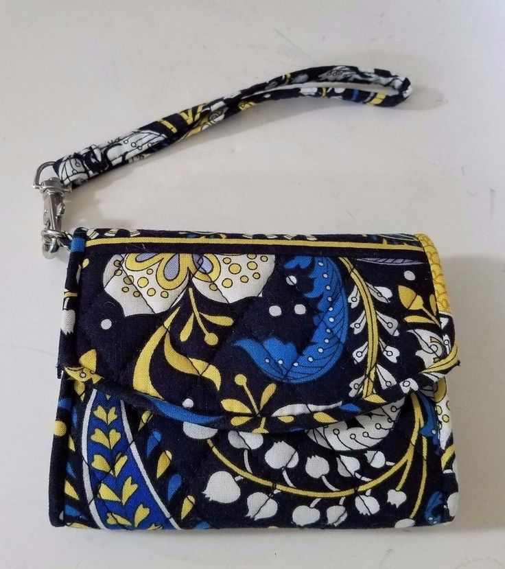 Vera Bradley Ellie Blue pattern Tri-fold Wallet Wristlet black yellow #VeraBradley #Wristlet