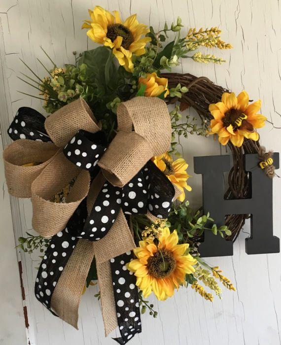 Summer Sunflower Wreath Spring Wreath for Door Monogram