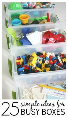 25 Low Prep Busy Boxes or Busy Bags Activities