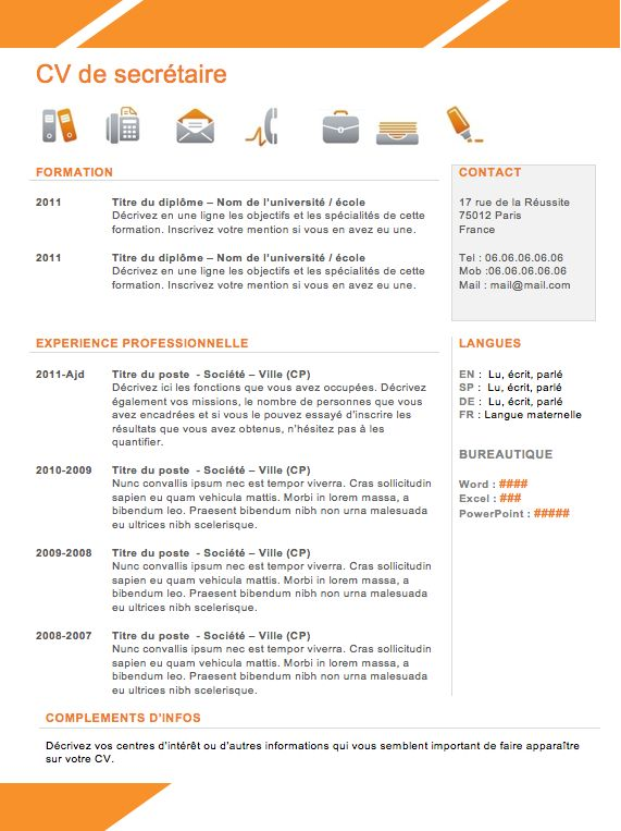 17 best ideas about cv gratuit on pinterest mod le cv - Model de bureau secretaire ...