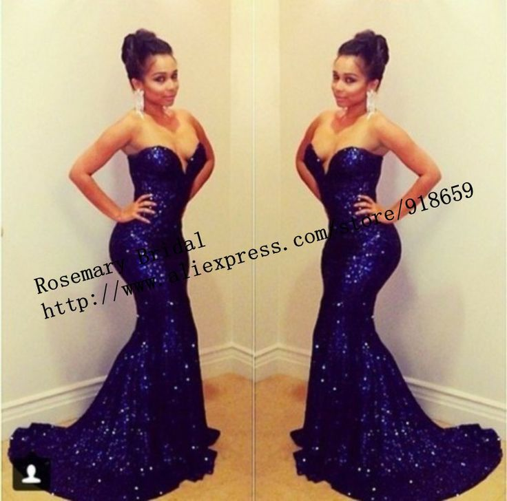 2017 Royal Blue Long Style Mermaid Fish Tail Sequins Y Evening Dress New Arrival 157 99