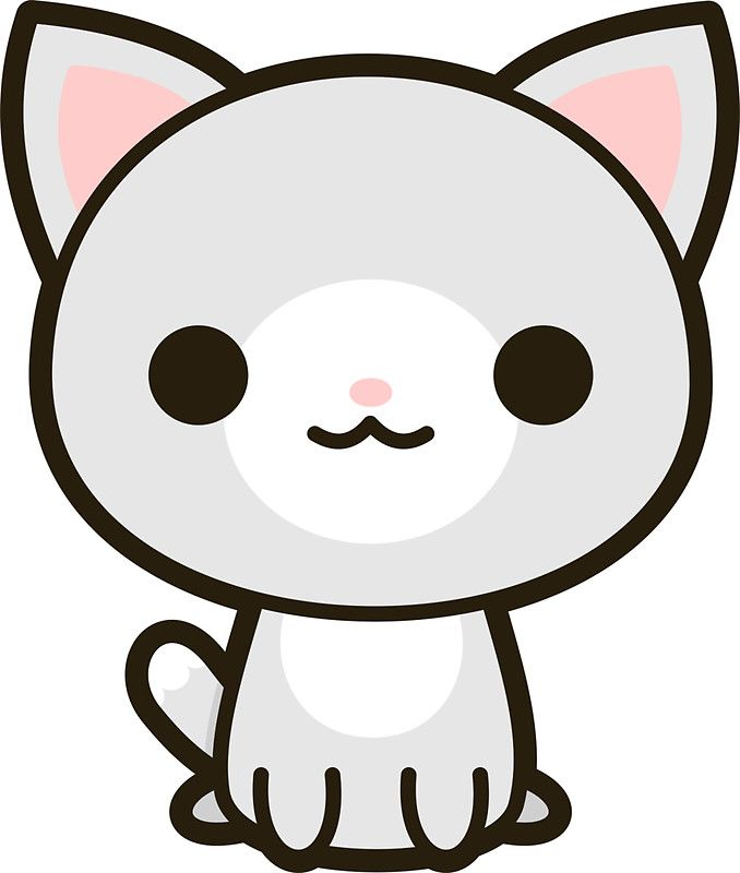 Kawaii grey and white cat | Sticker