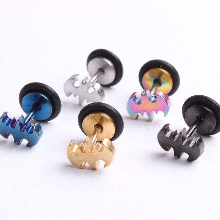 Batman Logo Shaped Stainless steel Stud Earrings fashion Comics Super Heroes Themed Jewelry SWXFR157