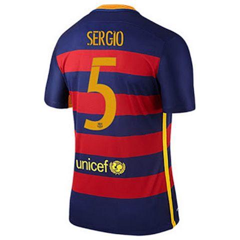 Camiseta Sergio-Busquets del Barcelona Primera 2015-2016 baratas